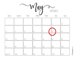 Calendar with 8 May circled