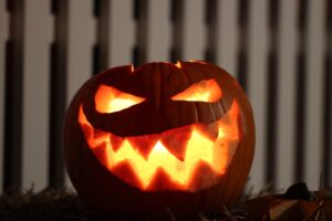 Halloween pumpkin with glowing face
