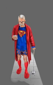 Older man with Superman robe and cane holding